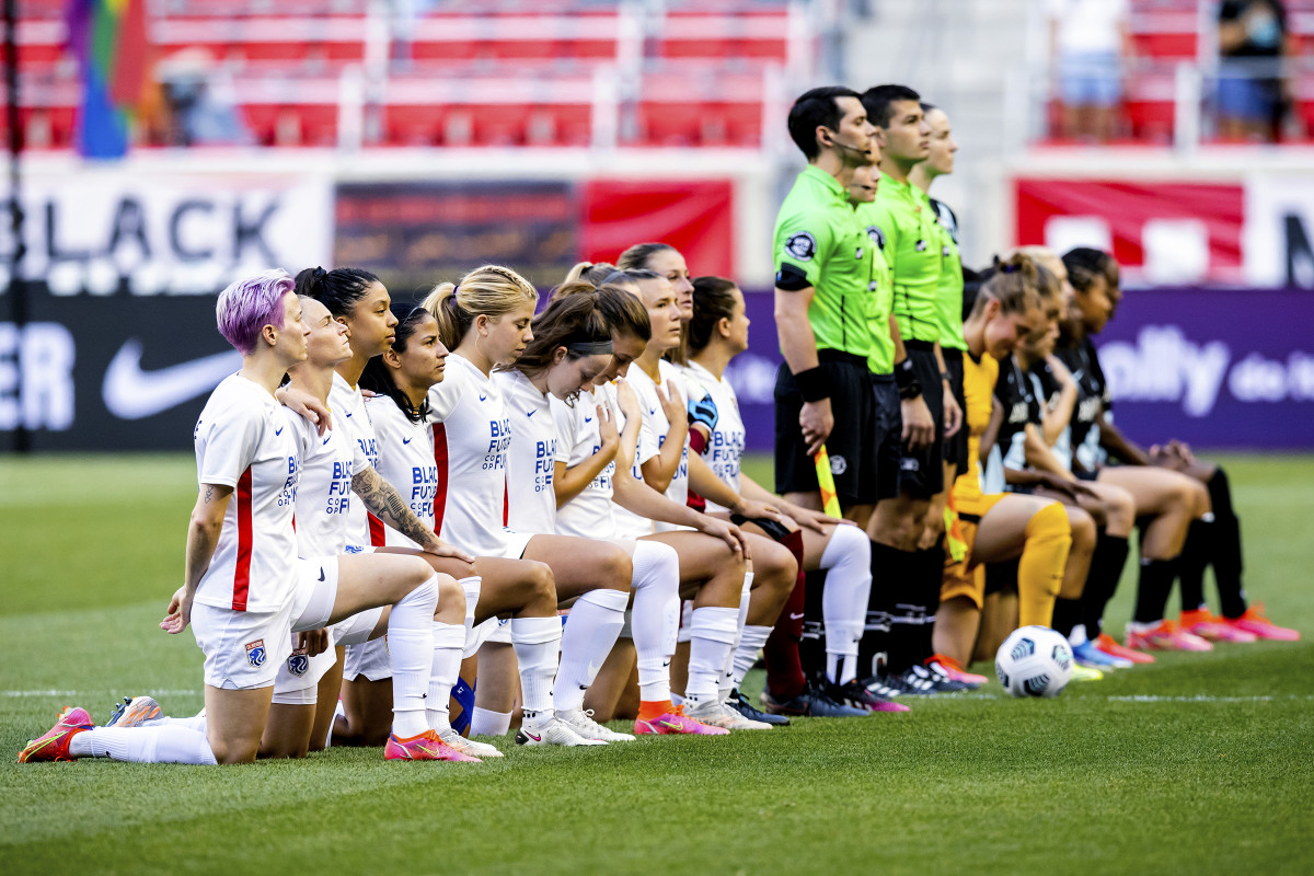 Five years later, Kaepernick's stamp can be found all across sports. Megan Rapinoe (far left) was one of the first adopters.