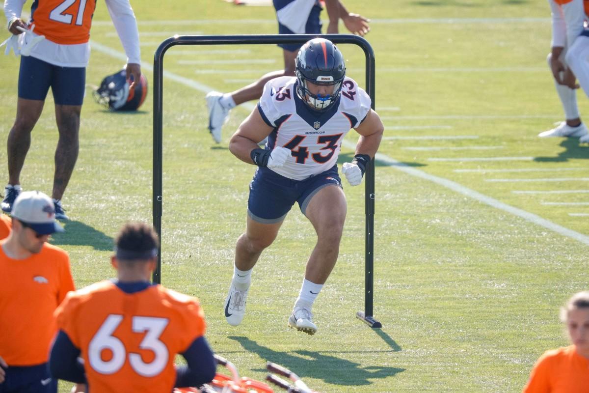Denver Broncos fullback Adam Prentice (43) during training camp. Mandatory Credit: Isaiah J. Downing-USA TODAY