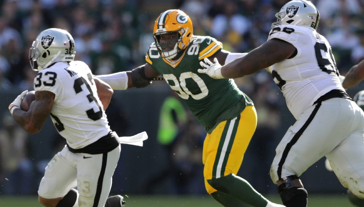 Green Bay Packers defensive tackle Montravius Adams (90) against the Oakland Raiders. Wag Syndication: PackersNews© USA TODAY NETWORK-Wis via Imagn Content Services, LLC