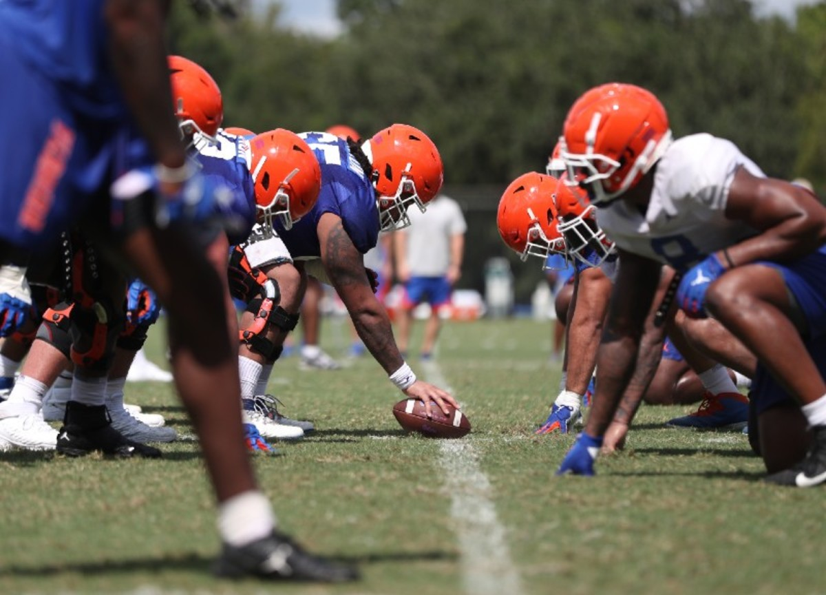 Florida Gators' offensive and defensive lines in fall camp