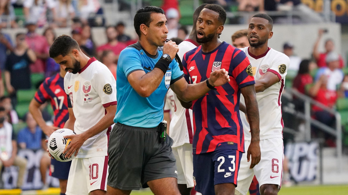 Kellyn Acosta delays Qatar's penalty kick vs. the USMNT at the Concacaf Gold Cup
