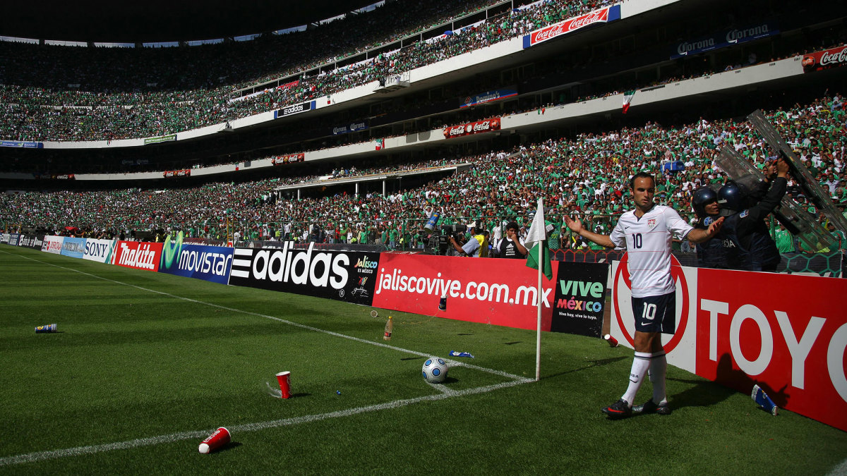 Landon Donovan is pelted by fans at a World Cup qualifier in Mexico