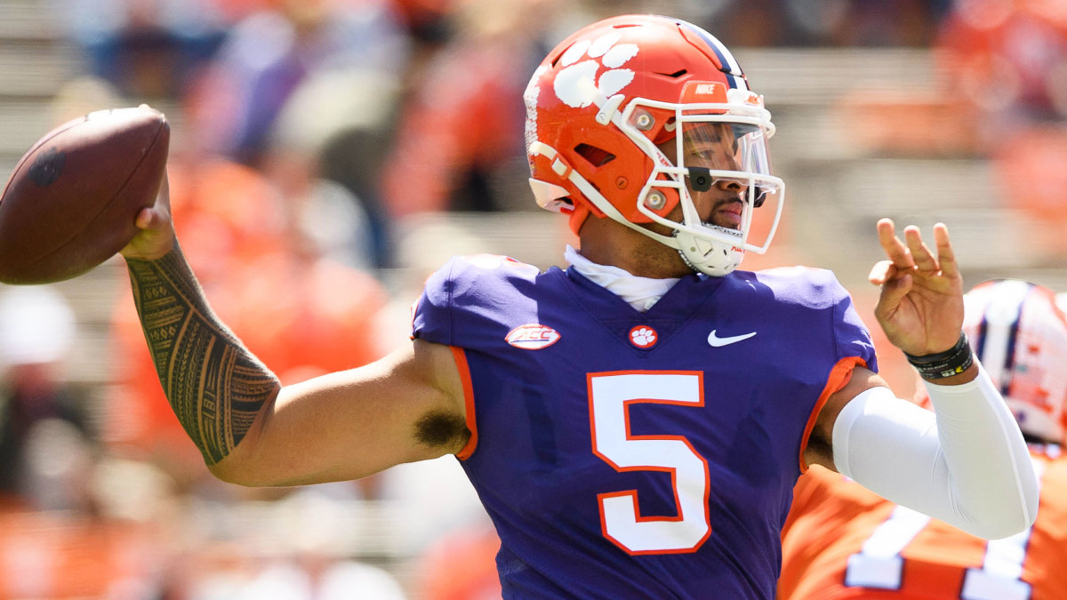 Clemson QB D.J. Uiagalelei throws during the Tigers' spring game