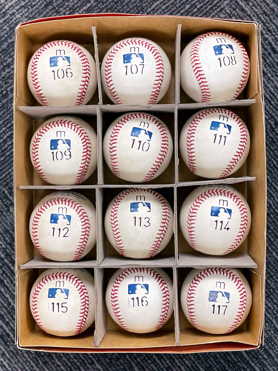 The Tigers marked up Cabrera's potential milestone balls.