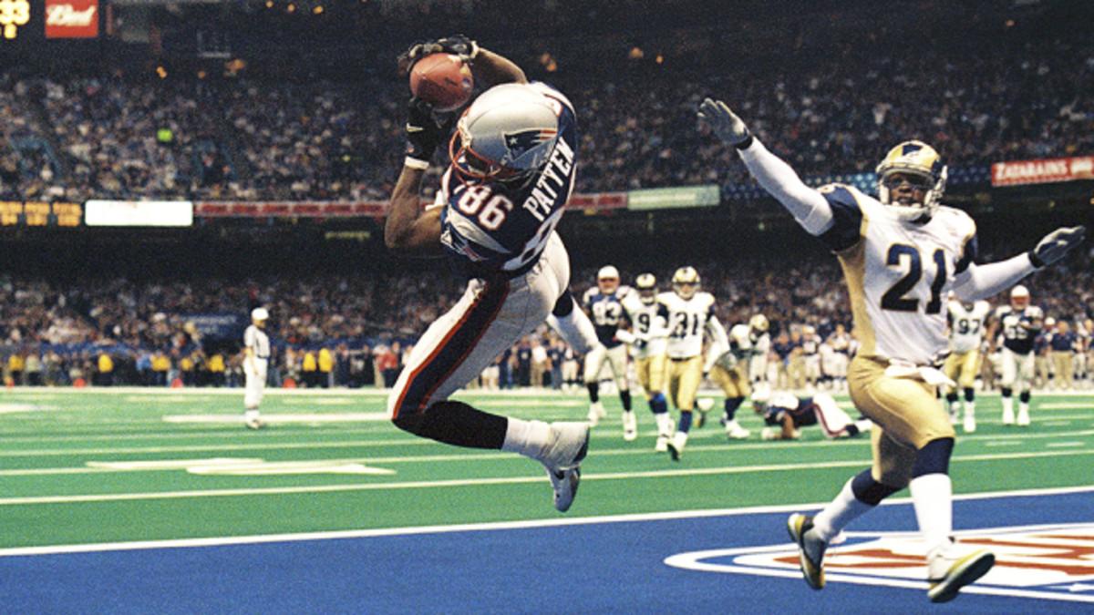 Former New England receiver David Patten catches a touchdown in Super Bowl XXXVI. Credit: CBS Boston