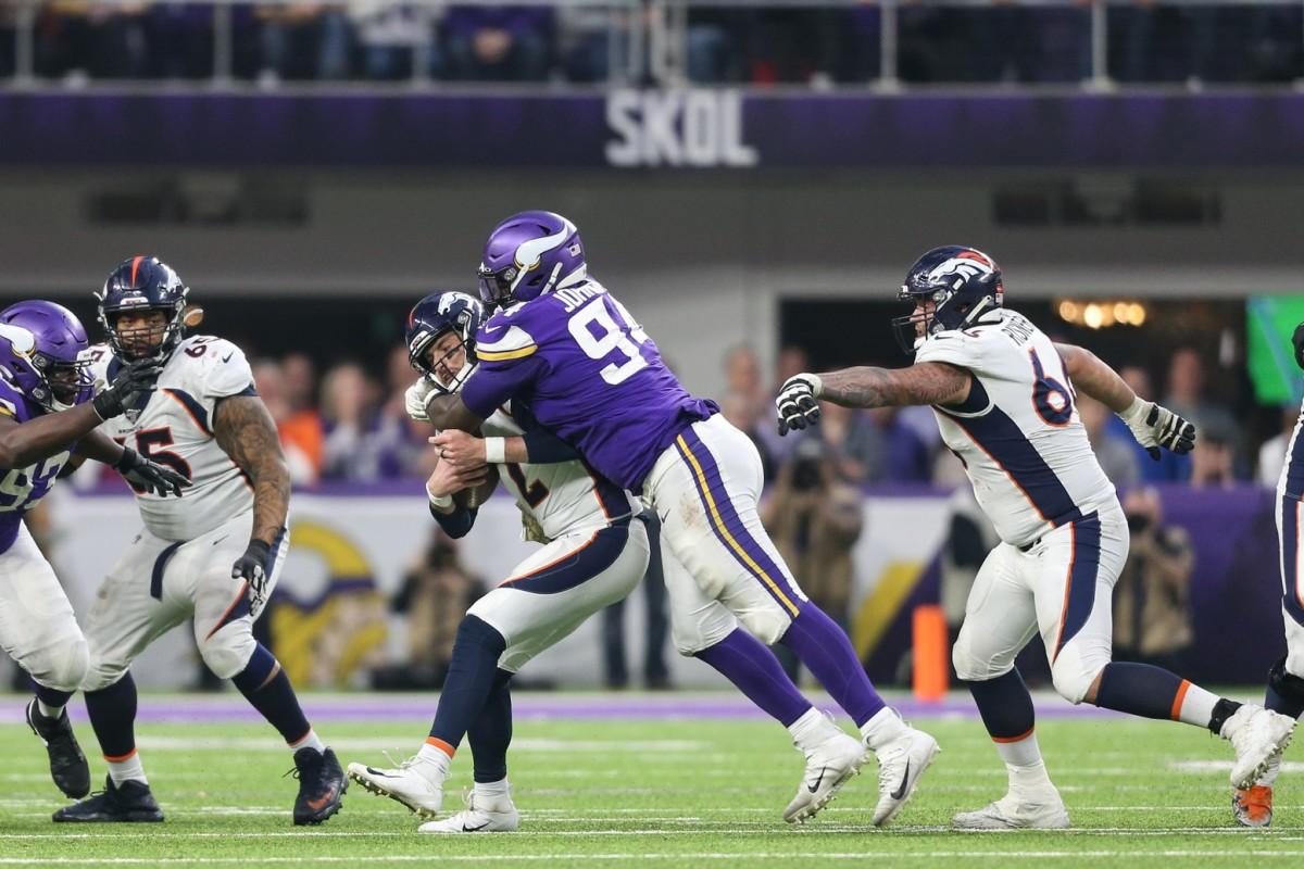 Minnesota Vikings defensive lineman Jaleel Johnson (94) sacks Denver quarterback Brandon Allen (2). Mandatory Credit: Ben Ludeman-USA TODAY Sports