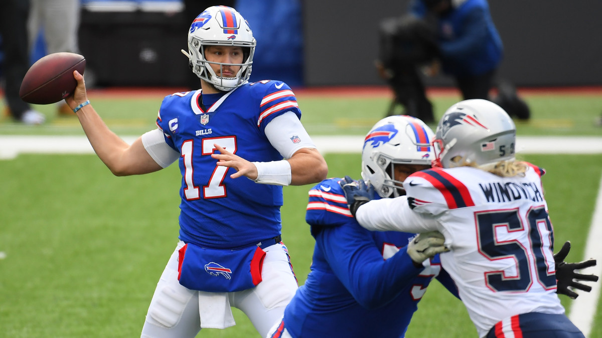 Josh Allen throws a pass against the Patriots during the 2020 season