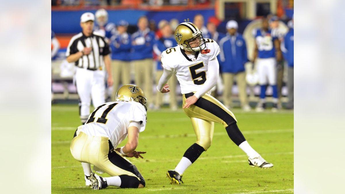 New Orleans Saints Kicker Garrett Hartley (5) converts on a Field Goal in Super Bowl XLIV.