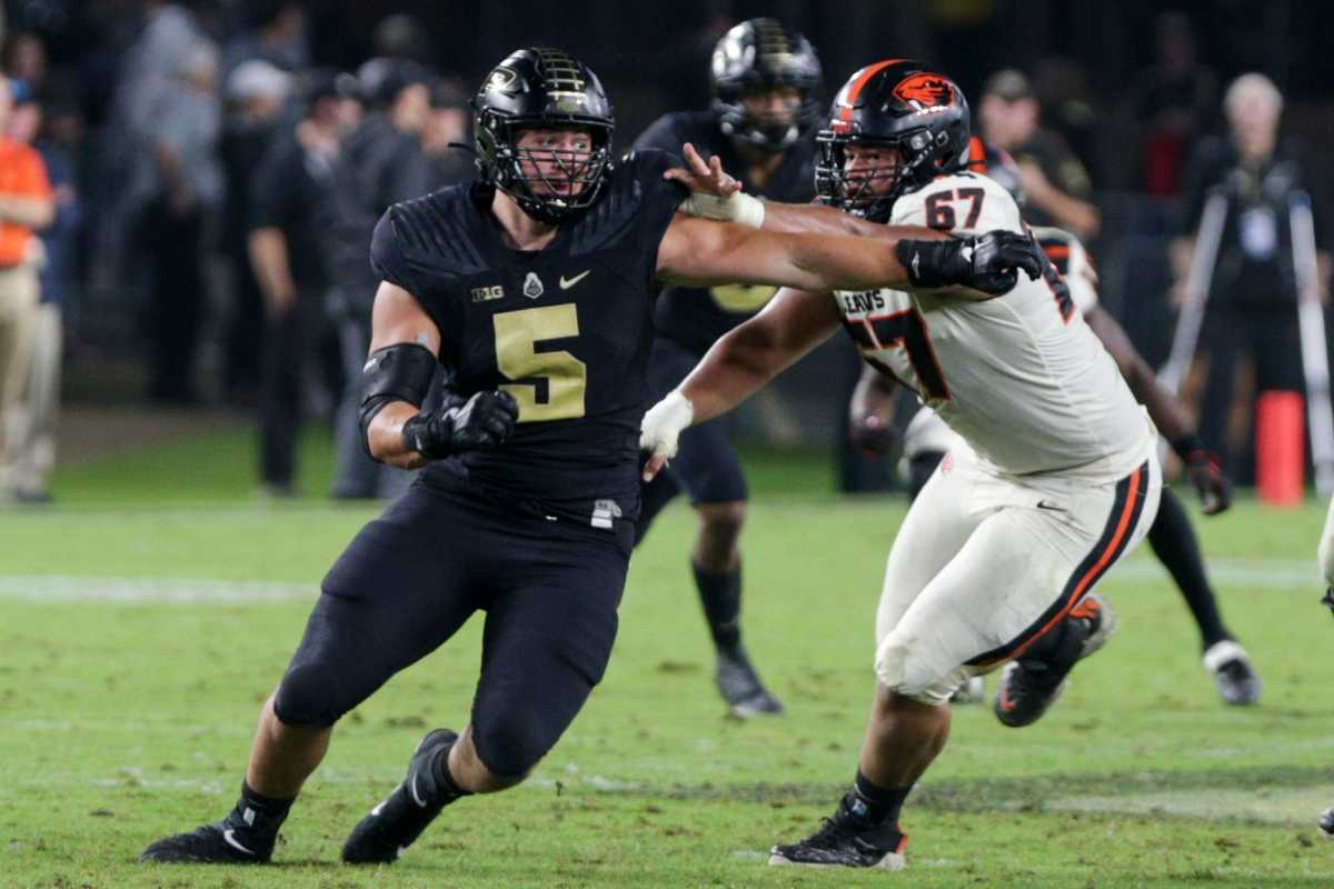 George Karlaftis is widely seen as a top-three pass-rusher in a deep defensive end class.