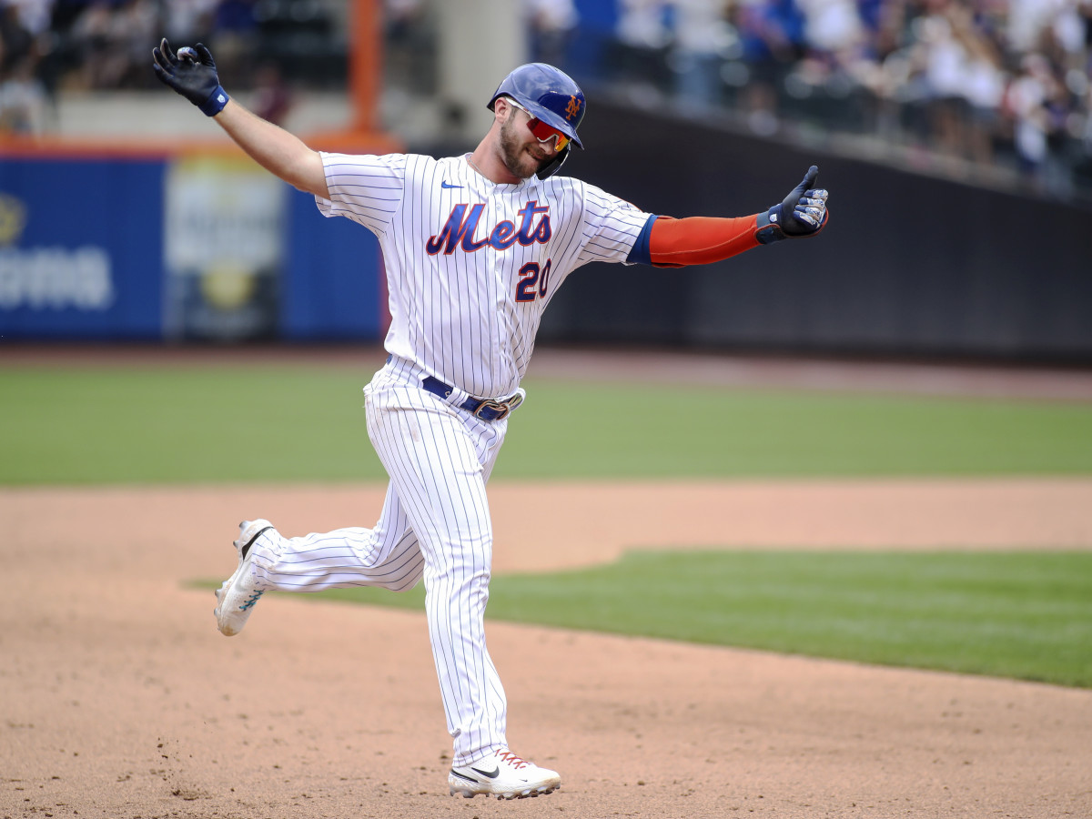 Jul 25, 2021; New York City, New York, USA;  New York Mets first baseman Pete Alonso (20) circles the bases after hitting a two-run home run in the sixth inning against the Toronto Blue Jays at Citi Field.