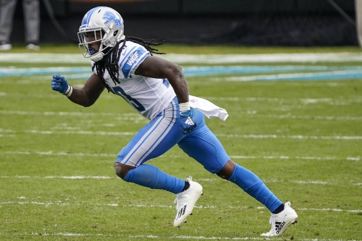Detroit Lions cornerback Desmond Trufant (23) against the Carolina Panthers. Mandatory Credit: Jim Dedmon-USA TODAY Sports