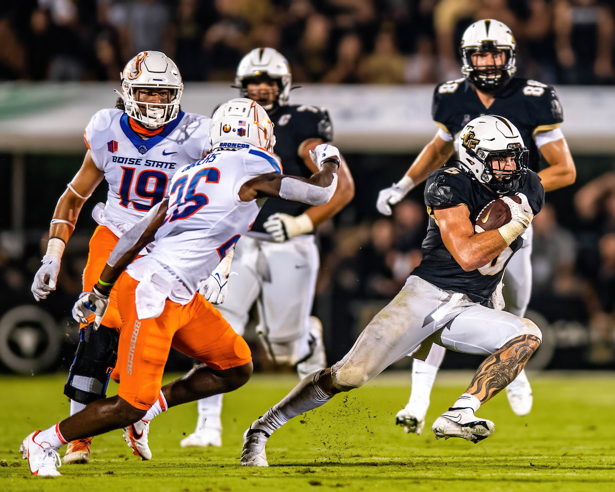 UCF running back Isaiah Bowser shredded Boise State's defense for 172 yards on the ground and 29 receiving yards.