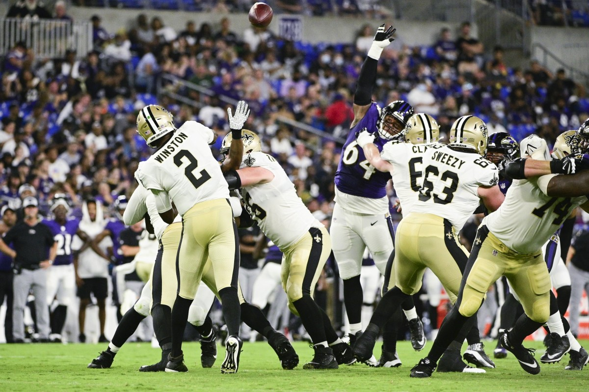 New Orleans Saints quarterback Jameis Winston (2) throws from the pocket against the Baltimore Ravens. Mandatory Credit: Tommy Gilligan-USA TODAY Sports