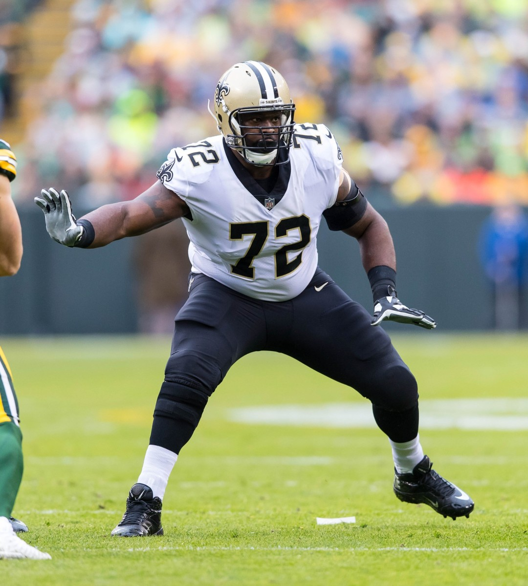 Oct 22, 2017; Green Bay, WI, USA; New Orleans Saints offensive tackle Terron Armstead (72) against the Green Bay Packers at Lambeau Field. Mandatory Credit: Jeff Hanisch-USA TODAY