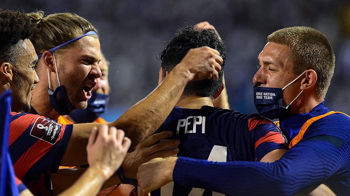 Ricardo Pepi celebrates his goal for the USMNT