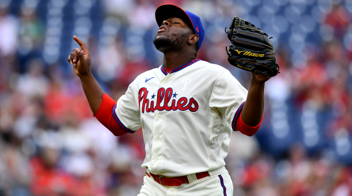 Aug 29, 2021; Philadelphia, Pennsylvania, USA; Philadelphia Phillies relief pitcher Héctor Neris (50) reacts after the final out in the eighth inning against the Arizona Diamondbacks at Citizens Bank Park.
