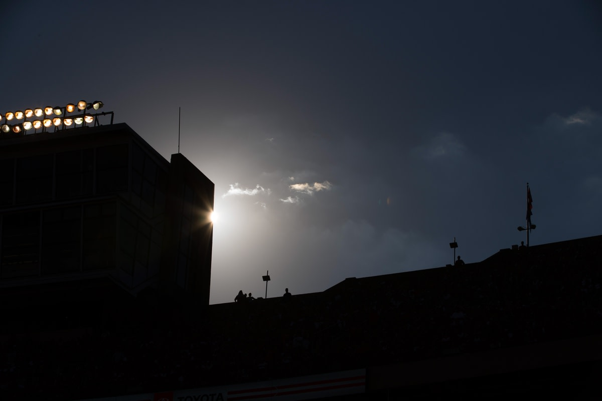 Sep 15, 2018; Madison, WI, USA; Silhouette view of a portion of Camp Randall Stadium during the game between the BYU Cougars and Wisconsin Badgers. Mandatory Credit: Jeff Hanisch-USA TODAY Sports