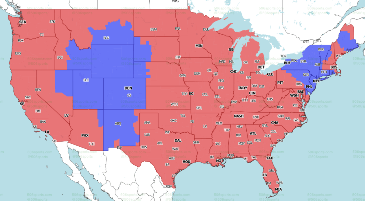 Week 1 FOX Broadcast Map (Packers-Saints projected in Red)