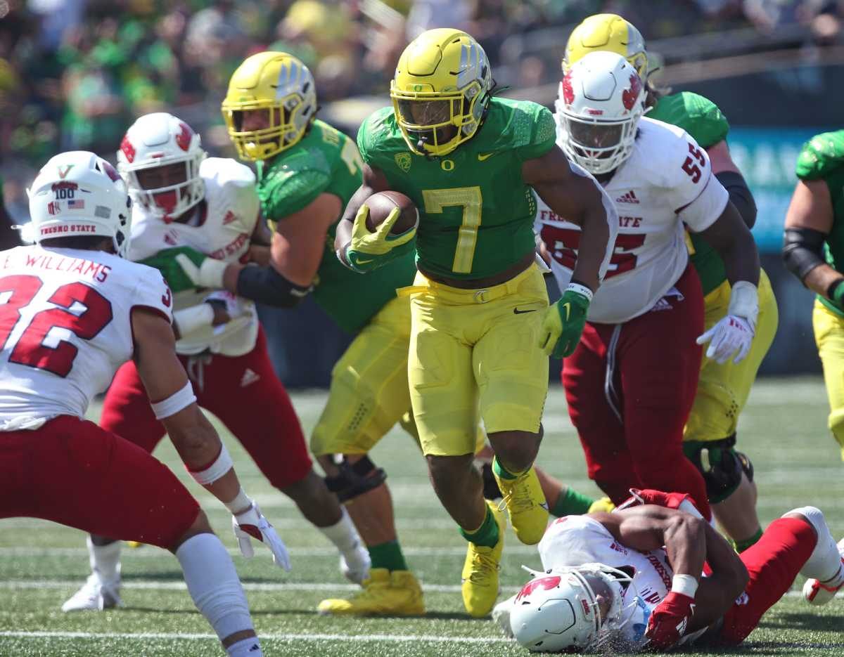 Oregon's uniforms 'pop' and the helmets are the trademark of the overall uniform design.