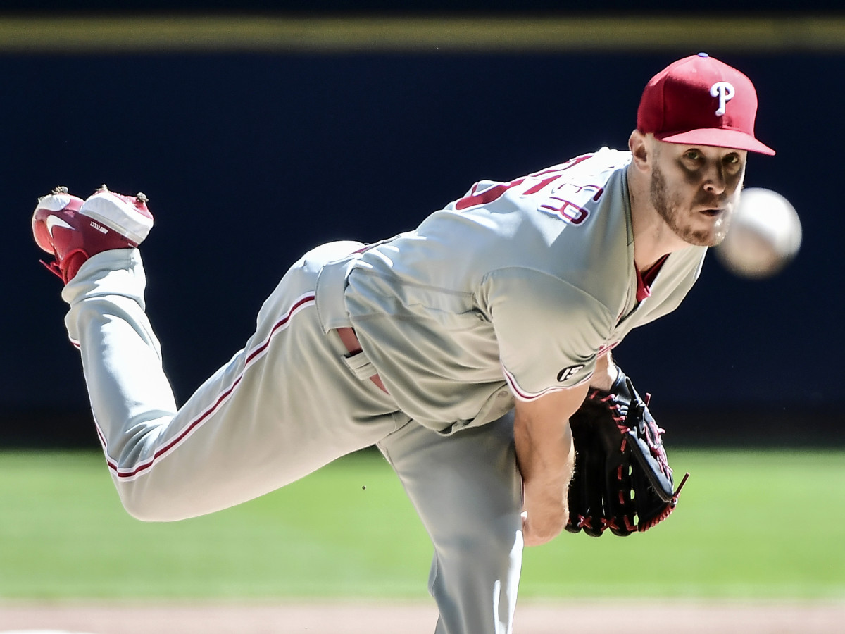 Sep 6, 2021; Milwaukee, Wisconsin, USA; Philadelphia Phillies pitcher Zack Wheeler (45) throws a pitch in the first inning against the Milwaukee Brewers at American Family Field.