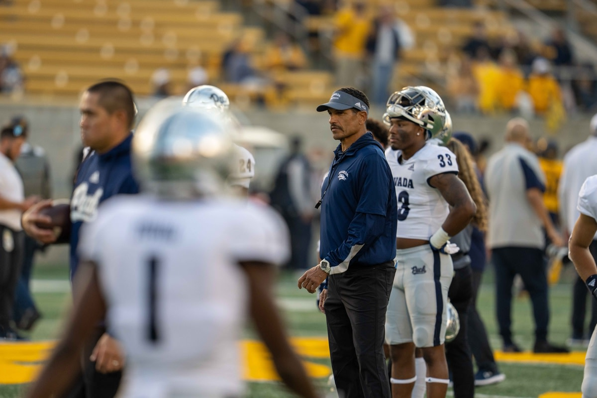 Sep 4, 2021; Berkeley, California, USA; Nevada Wolf Pack head coach Jay Norvell looks on before a game against the California Golden Bears at FTX Field at California Memorial Stadium. Mandatory Credit: Neville E. Guard-USA TODAY Sports
