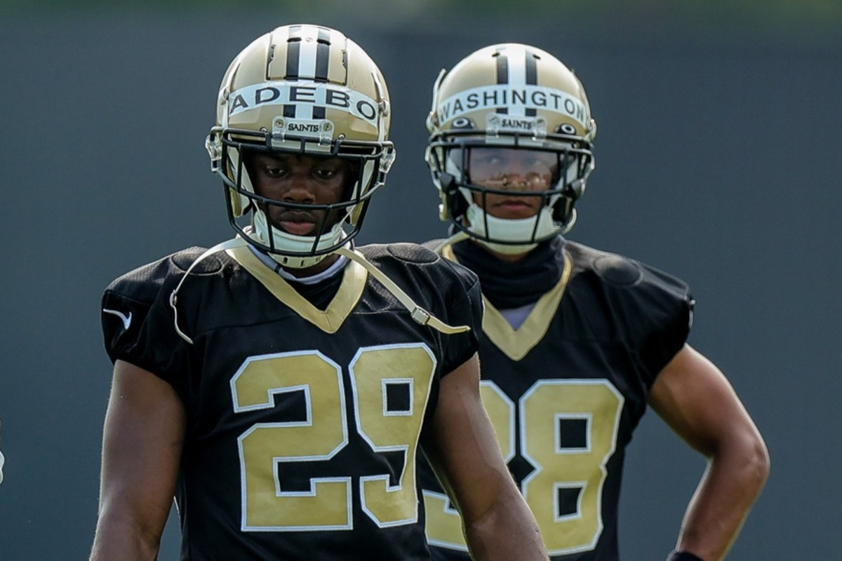 New Orleans Saints cornerback Paulson Adebo (29) and defensive back Keith Washington Jr. (38) look on during a New Orleans Saints training camp session at the New Orleans Saints Training Facility.Mandatory Credit: Stephen Lew-USA TODAY Sports