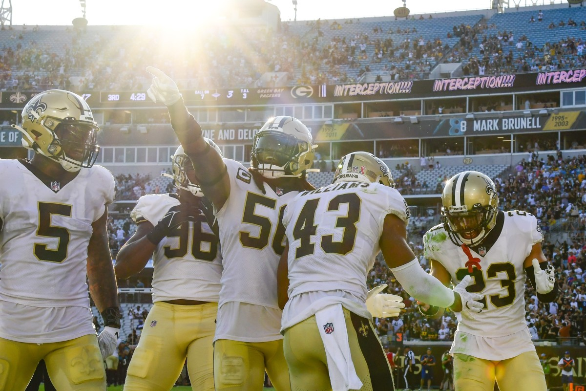 Saints Defense Celebrates
