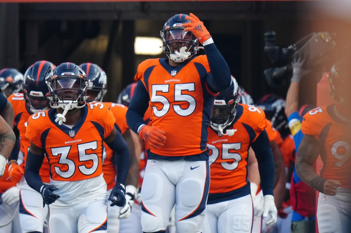 Aug 28, 2021; Denver, Colorado, USA; Denver Broncos outside linebacker Bradley Chubb (55) before the preseason game against the Los Angeles Rams at Empower Field at Mile High.