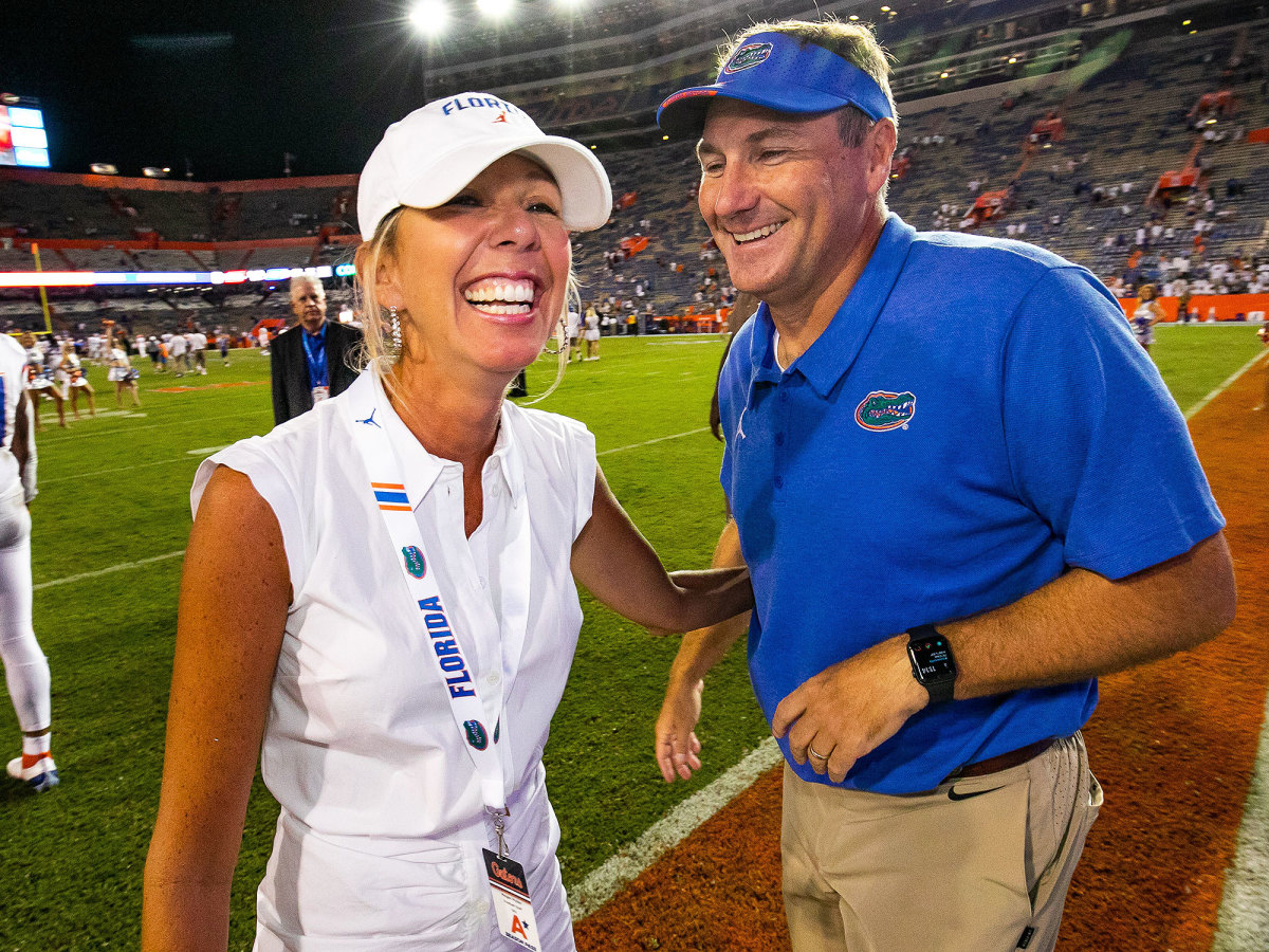 Megan Mullen and Dan Mullen are all smiles after a Florida win