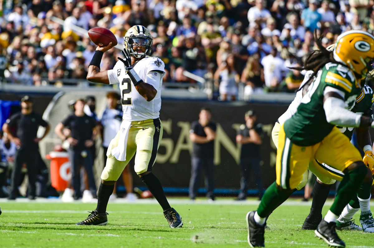 Sep 12, 2021; Jacksonville, Florida, USA; New Orleans Saints quarterback Jameis Winston (2) throws during the first half Green Bay Packers at TIAA Bank Field. Mandatory Credit: Tommy Gilligan-USA TODAY Sports