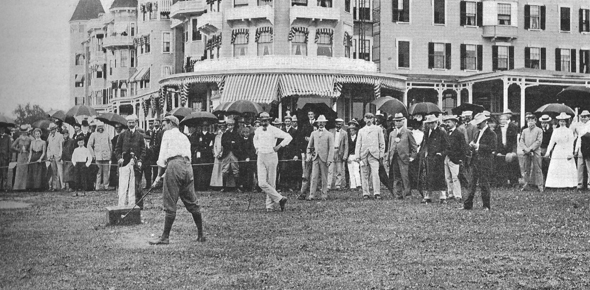 Harry Vardon prepares to tee off in front of the Poland Spring Resort.