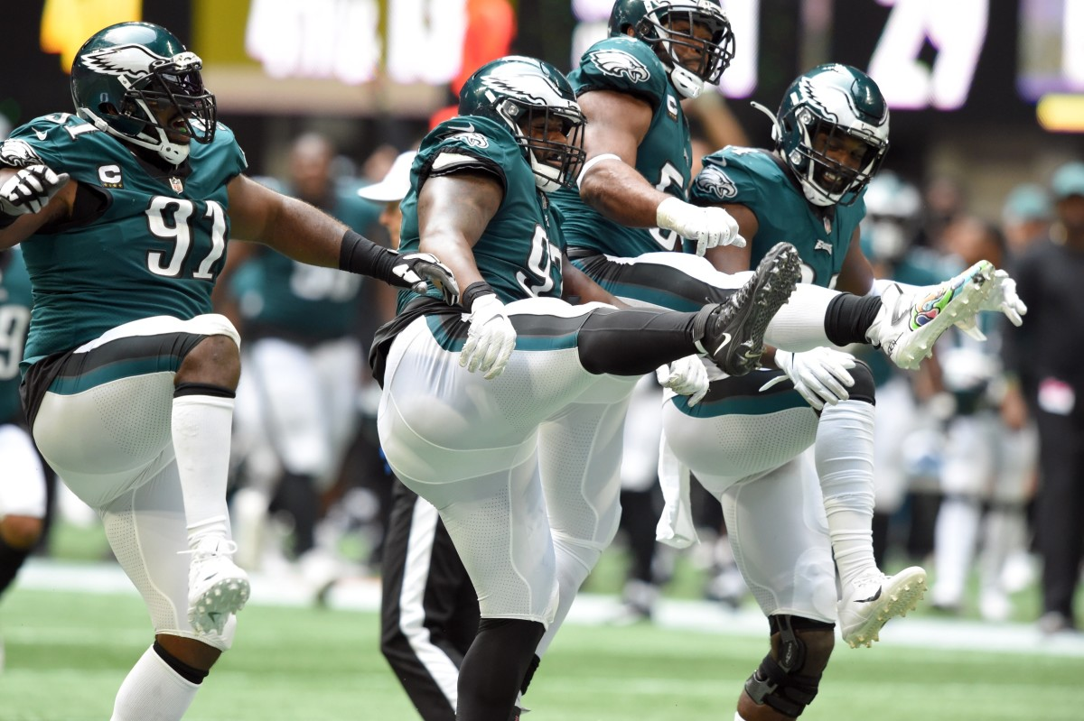 Javon Hargrave does a sack dance with teammates in win over Atlanta Falcons