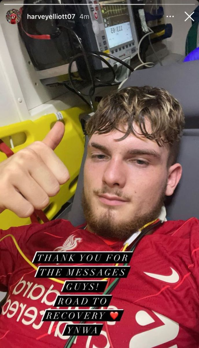 Harvey Elliott shared a message to his Instagram account from the ambulance