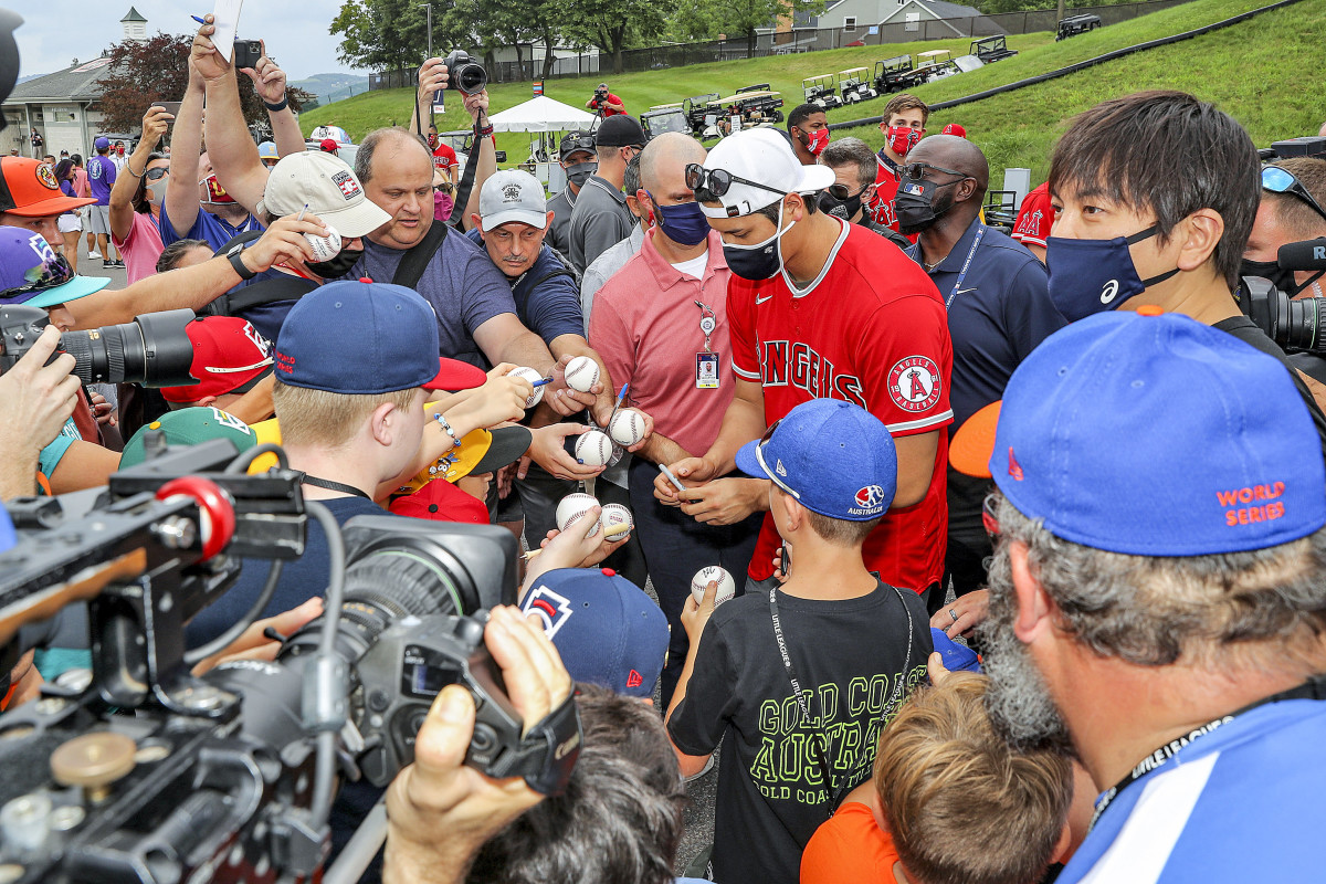 Ohtani, who plays with the ease and joy of a Little Leaguer, signs autographs for kids at the Little League World Series complex in South Williamsport, Pa.