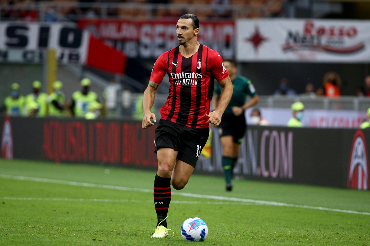 9/12/2021 - Zlatan Ibrahimovic of AC Milan in action during the Serie A 2021/2022 match between AC Milan and SS Lazio at Giuseppe Meazza Stadium on September 12,2021 in Milano, Italy