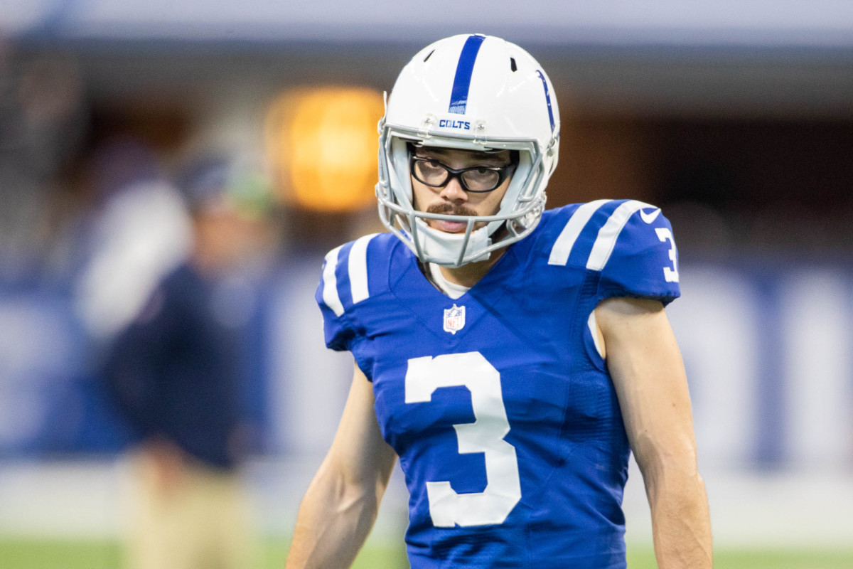 Sep 12, 2021; Indianapolis, Indiana, USA; Indianapolis Colts kicker Rodrigo Blankenship (3) warms up before the game against the Seattle Seahawks at Lucas Oil Stadium.