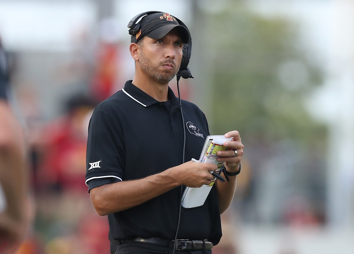 Sep 11, 2021; Ames, Iowa, USA; Iowa State Cyclones head coach Matt Campbell watches his team play the Iowa Hawkeyes at Jack Trice Stadium. The Hawkeyes won 27-17. Mandatory Credit: Reese Strickland-USA TODAY Sports