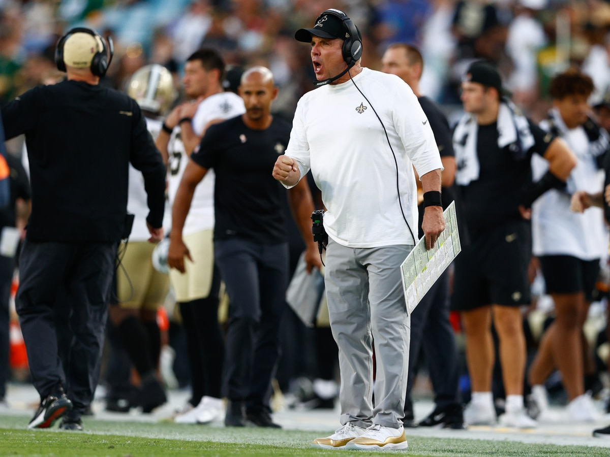 Sep 12, 2021; Jacksonville, Florida, USA; New Orleans Saints head coach Sean Payton directs his team in the fourth quarter against the Green Bay Packers at TIAA Bank Field. Mandatory Credit: Nathan Ray Seebeck-USA TODAY Sports