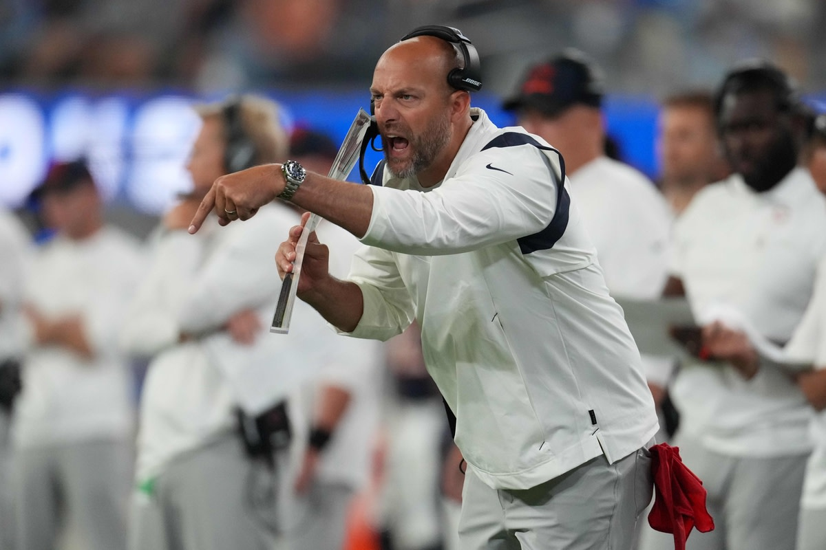 Sep 12, 2021; Inglewood, California, USA; Chicago Bears head coach Matt Nagy reacts in the fourth quarter against the Los Angeles Rams at SoFi Stadium. Mandatory Credit: Kirby Lee-USA TODAY Sports