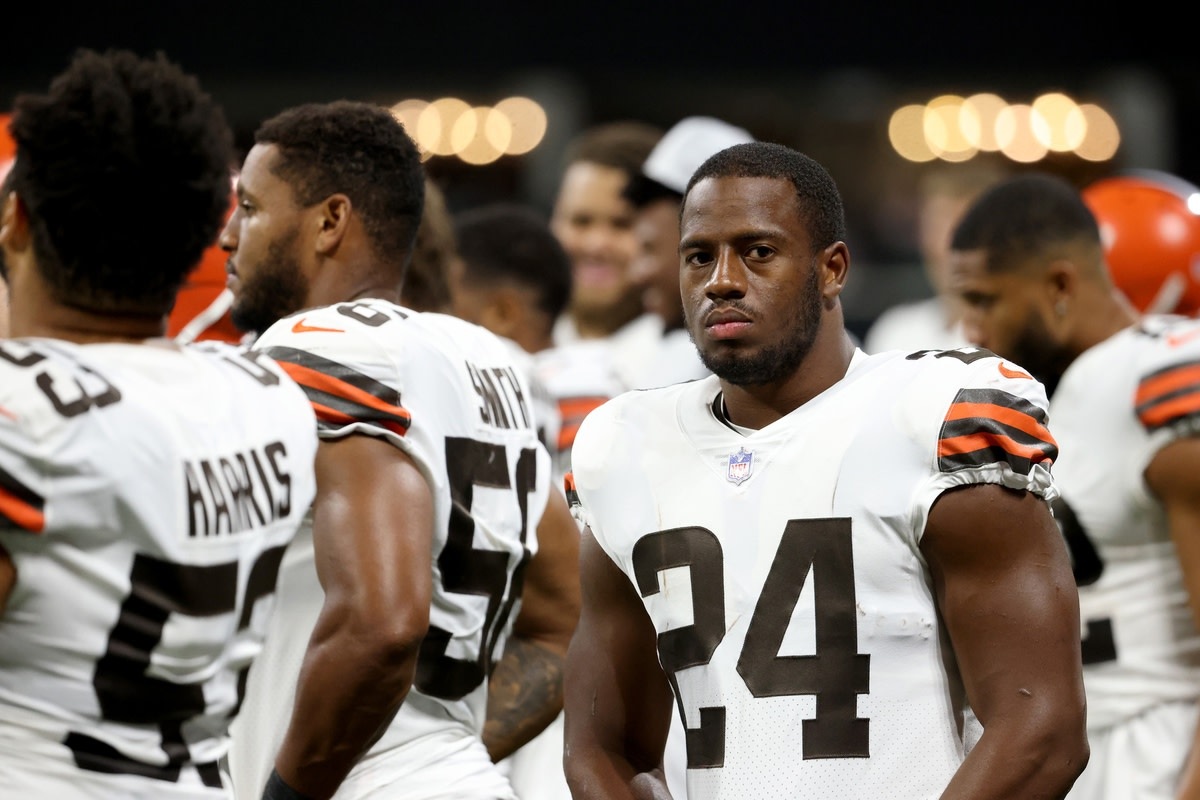 Aug 29, 2021; Atlanta, Georgia, USA; Cleveland Browns running back Nick Chubb (24) is shown on the sideline during their game against the Atlanta Falcons at Mercedes-Benz Stadium. Mandatory Credit: Jason Getz-USA TODAY Sports