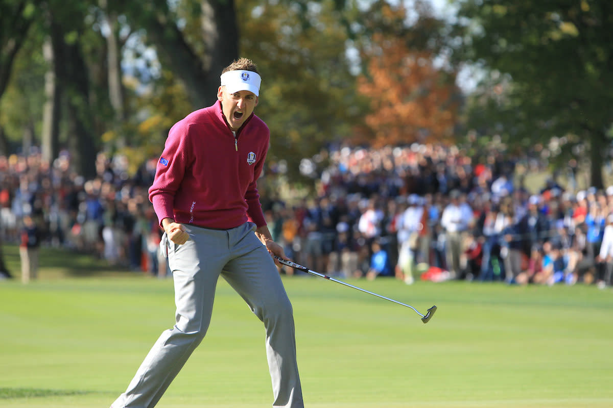 Ian Poulter celebrates after holing a putt at Medinah in the 2012 Ryder Cup.