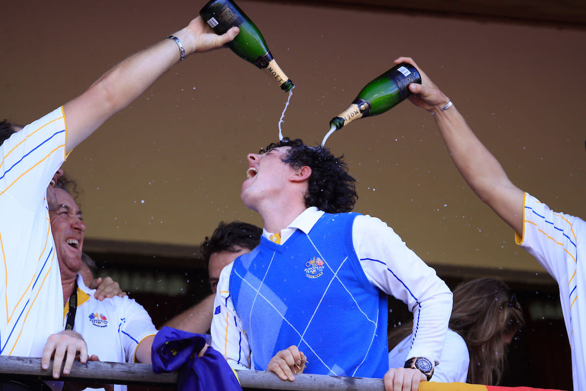 Rory McIlroy celebrates Europe's 2010 Ryder Cup win.