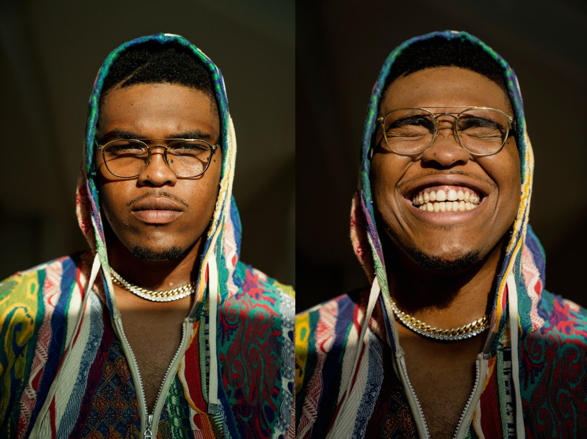 Orlando Brown Jr. in two portraits, one with a serious look and one with a large smile