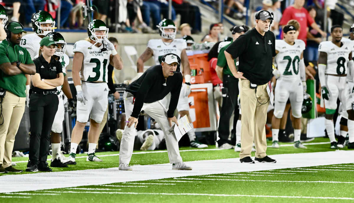 Troy Taylor on the sidelines for Sacramento State