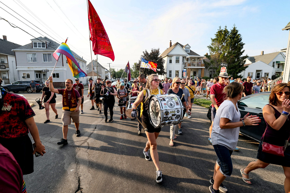 On match days, DCFC's Northern Guard marches half a mile through Hamtramck to Keyworth Stadium.