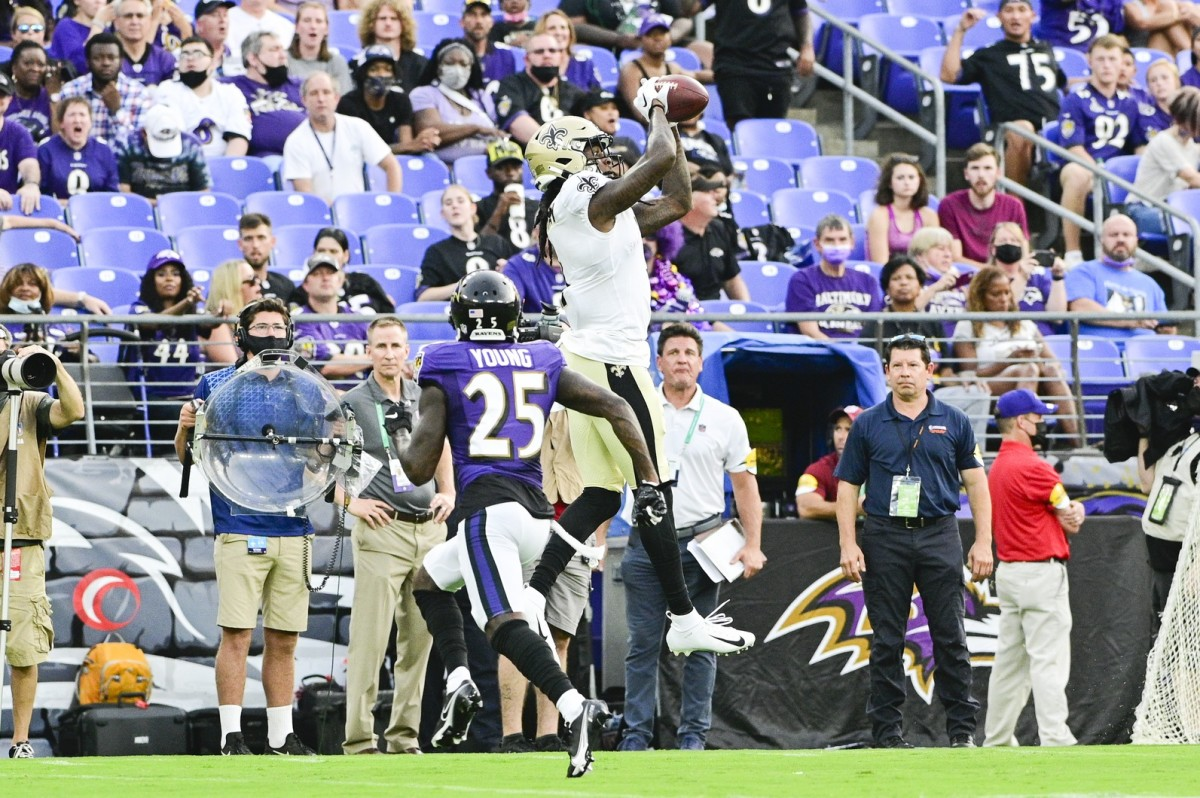 New Orleans Saints wide receiver Marquez Callaway (1) makes a catch against the Baltimore Ravens. Mandatory Credit: Tommy Gilligan-USA TODAY Sports