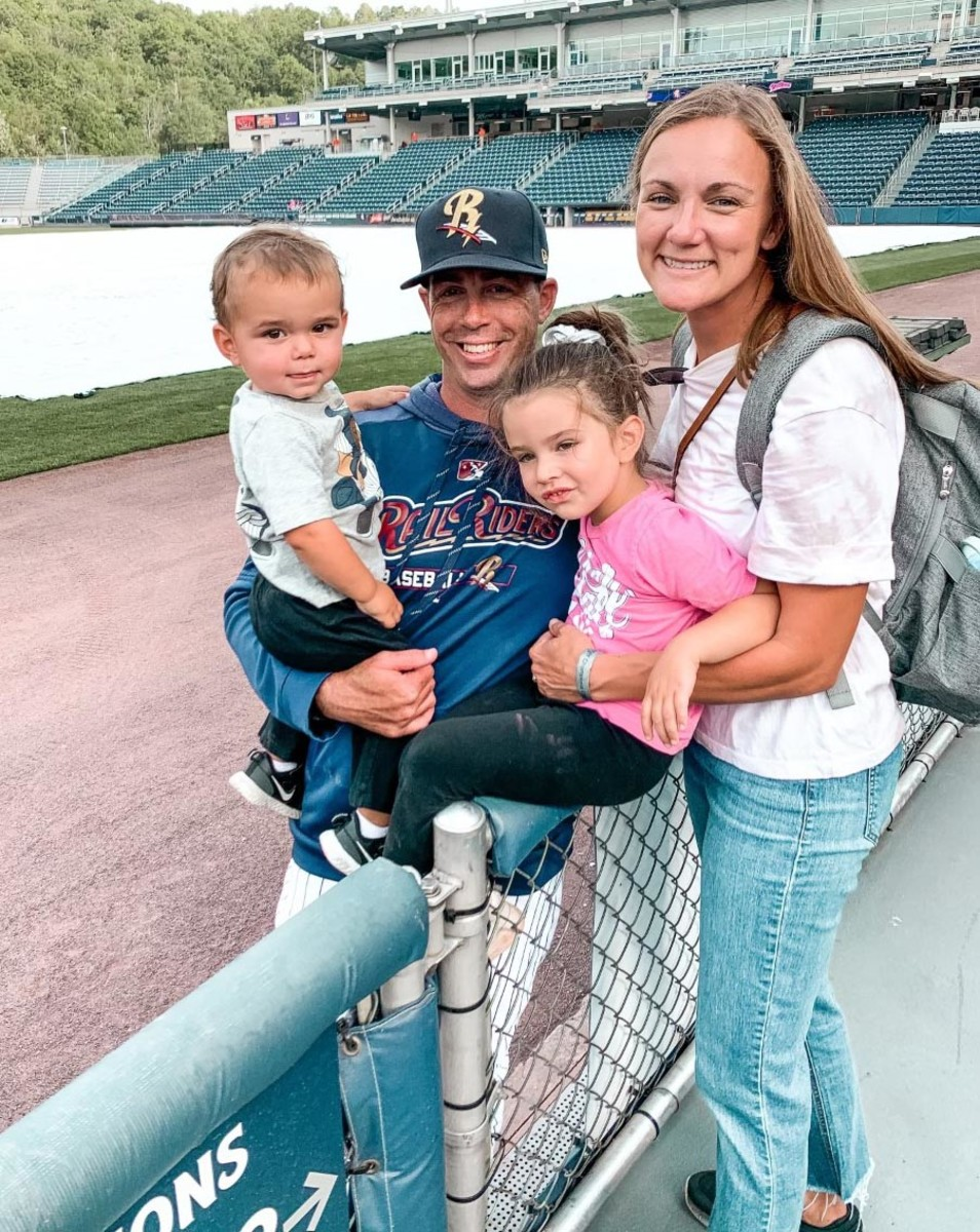 The Glant family, Indiana pitching coach Dustin Glant with his wife Ashley and their two children, Evelyn and David.
