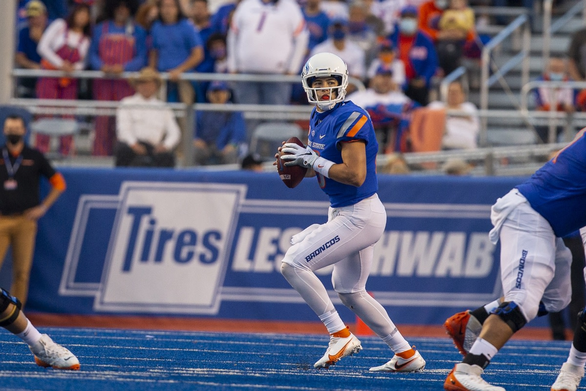 Sep 10, 2021; Boise, Idaho, USA; Boise State Broncos quarterback Hank Bachmeier (19) looks for a receiver during the first half against the UTEP Miners at Albertsons Stadium. Mandatory Credit: Brian Losness-USA TODAY Sports