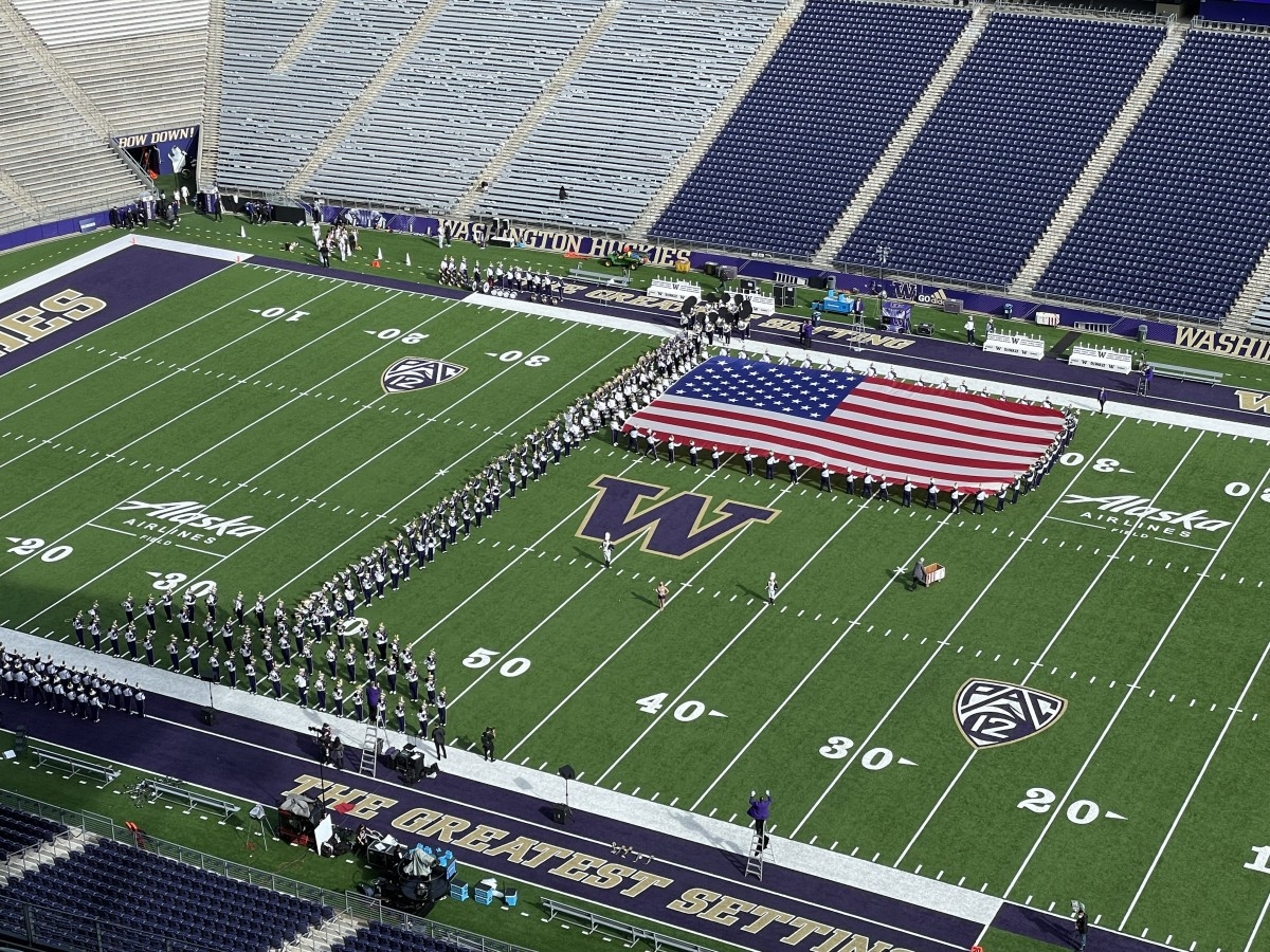 Band practices for the national anthem.