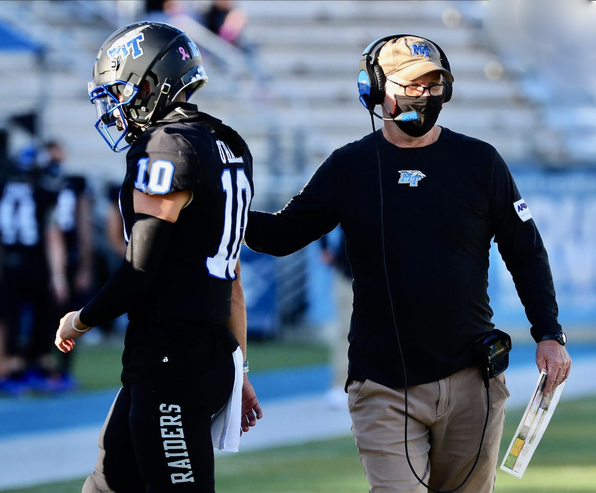 Asher O'Hara with former Cal coordinator Tony Franklin during their time together at Middle Tennessee